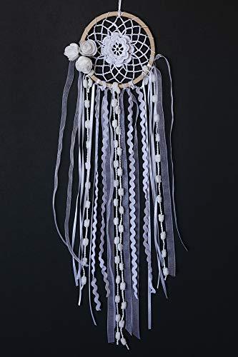 Omterior Handmade Dream Catcher with White Flowers for Princess Dreamcatcher Boho Wedding Decor Crochet Dream Catchers for Bedroom Cars Dia 4''