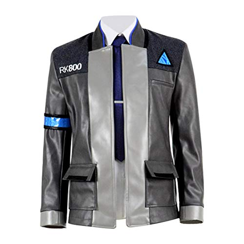 Qi Pao Hot Movie Game Become Human Connor Mens Jacket Halloween Costume (Men-XXXL, Full Set)