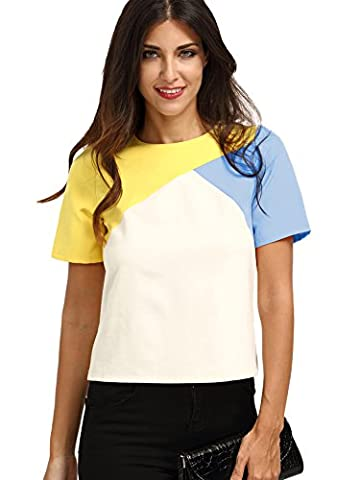 ROMWE Womens Color Block Short Sleeve Back Zipper T-shirt Top Blouse Muliticolored M - Short Sleeve Zipper