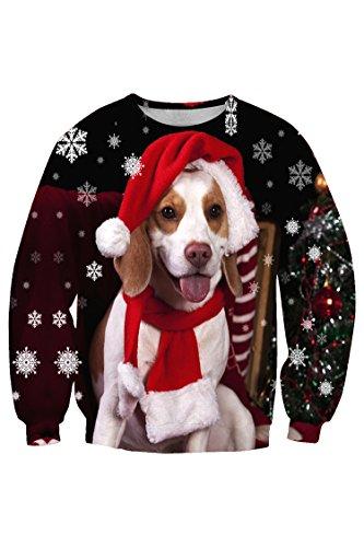 Lacostew Pullover Long Sleeve Christmas Dog Print Sweatshirt T Shirt 3XL