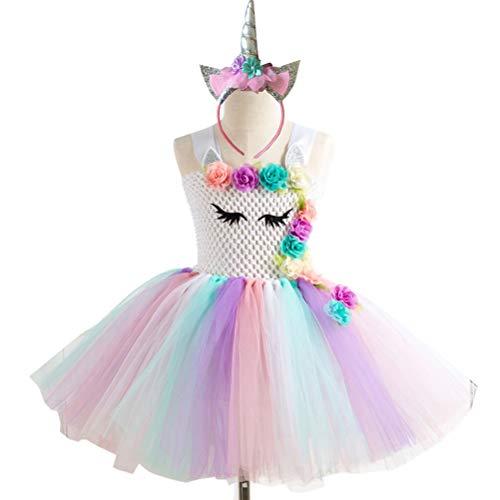 Amosfun Girls Unicorn Costume Rainbow Unicorn Dress Unicorn Horn Headband for Girls Unicorn Party Dress Up for 6-7 Years Grils