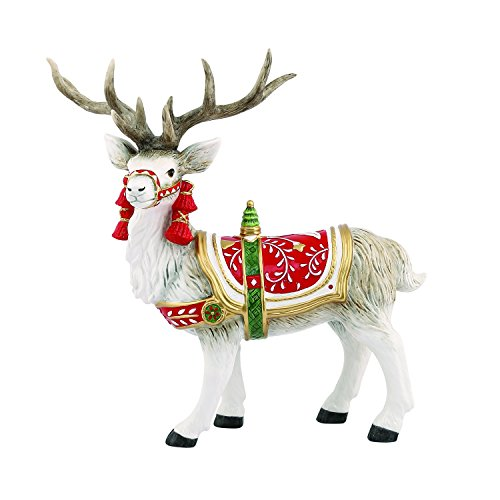 Fitz and Floyd 49-372 Poinsettia Deer Figurine Decor, Red White (Poinsettia Deer)