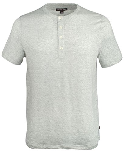 - Michael Kors Men's Henley Short Sleeve Shirt-HG-XXL Heather Grey
