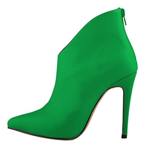EKS Damen Spitze Stilett Reißverschluss Kurze Stiefel Grün-matt