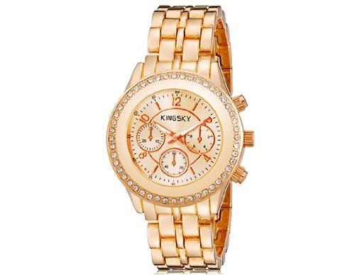 Reloj Mujer Con Cristal La Analógico 8805 Decorado Kingsky De 1cuTFlKJ3
