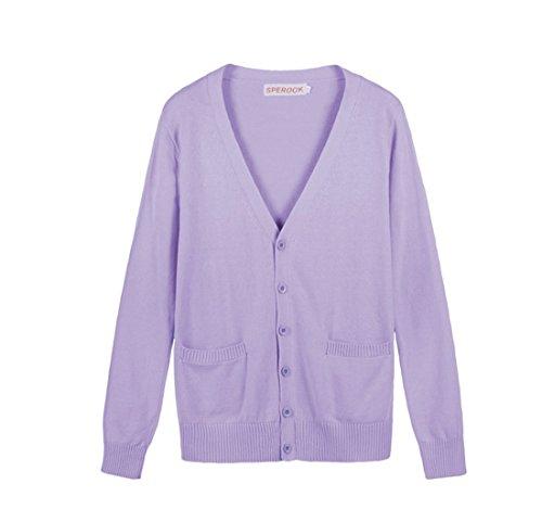 Manches Violet Sommets Bonbons Couleurs clair En QIYUN Scolaires Uniformes Coton Longues De JK a Cardigan Z Mignon Tricoter XqXaOAn0