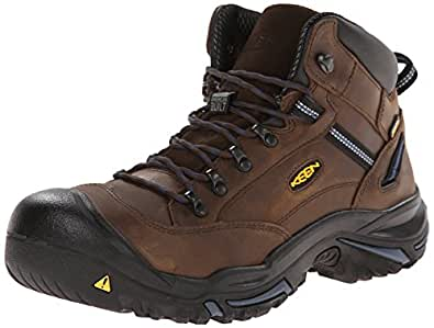 KEEN Utility Men's Braddock Mid AL Waterproof M Work Boot, Bison/Ensign Blue, 7 D US