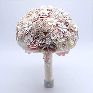 WSJS Wedding Flower Bouquet Bridal Bouquet Holding Flowers with Rhinestone Silks and Satins Bridesmaid Wedding Decoration Bouquets Party Home Flora 117