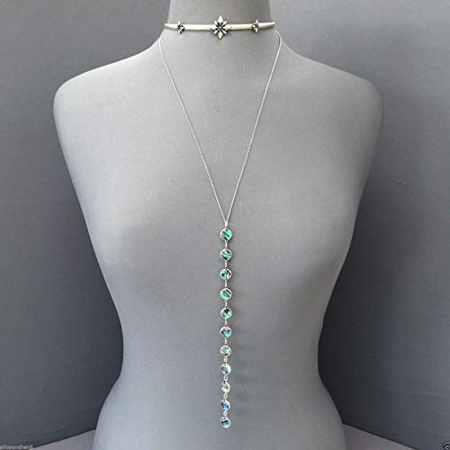 Antique Silver Star Choker Necklace with Chain Dangling Abalone ()