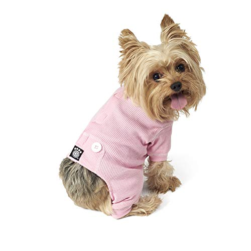 (PetRageous Cozy Thermal Pajamas for Pets, X-Small, Pink with White Stitching )