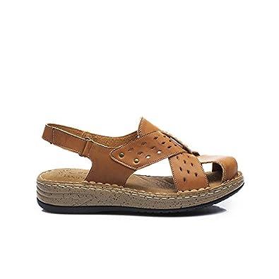 YFF Sommer Sandalen Damen Leder Freizeitschuhe Frauen weiche und bequeme Sandalen handgearbeitet, Khaki, 9.