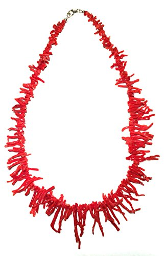 Genuine Red Mediterranean Branch Coral Necklace 20 Inches Medium Red Italian Hand Made
