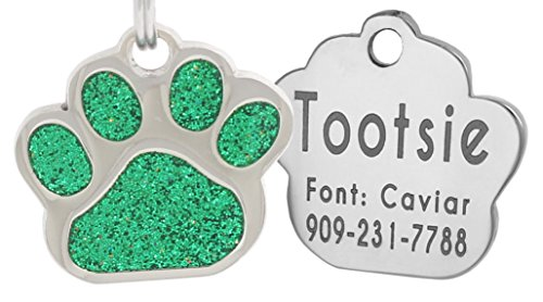 Laser Engraving Glitter Paw Pet ID Tags Custom Personalized for Dog & Cat Paw Print Tag ()
