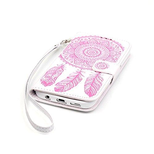 [ Samsung Galaxy S7 ] Funda Protector de Funda para Telefono Movil,Samsung Galaxy S7 Funda Caso de PU Cuero Leather,El Patrón de la Tribu Retro Moda Funda para Samsung Galaxy S7,Flip Folio Bookstyle c Blanco Rosa