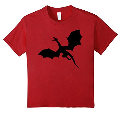 - Kids Sleek Dragons Shadow Graphic Print T-Shirt 10 Cranberry