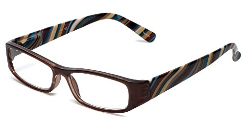 - Calabria 734 Reading Glasses w/Wavy Striped Design & Matching Case in Brown +2.5