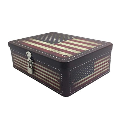 Fifriver American Flag Decorative Storage Box Metal Tin Box Containers with Lid Lock and Key for Gifts Jewelry Organizer Storage for Kids Men Women Boys Girls -