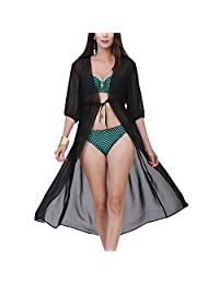 Womens Long Bikini Cover Ups Lace Up Chiffon See Through Loose Beach Wear L-XXL