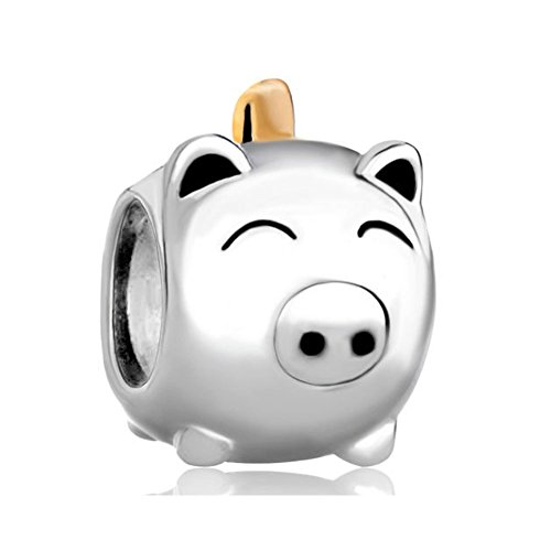 CoolJewelry Cute Sterling Silver Piggy Bank Charm Beads For Bracelets (Piggy Bank Charm)