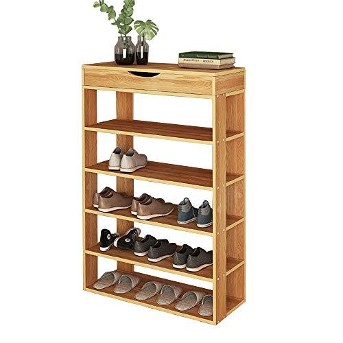 sogesfurniture Shoe Rack 29.5 Inches 5 Tier Free Standing Wooden Shoe Storage Shelf Shoe Organizer,Teak BHUS-L24-TK ()