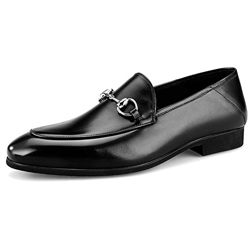 Zapatillas Shoe De Vestido De For para Monk Formal Walking Genuino Business On MERRYHE Barcos Planas Cuero Men Deck Slip Conducción Black Shoe Mocasines txvqYwaz