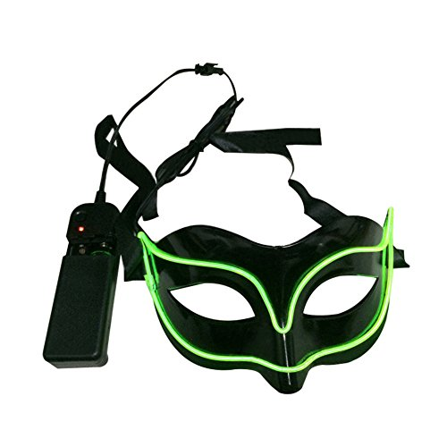 discoGoods Men and Women Light Up Half Face Venetian Mask Party Bar Cold Light El Wire Sexy Fox Mask Masquerade Decoration (Green)