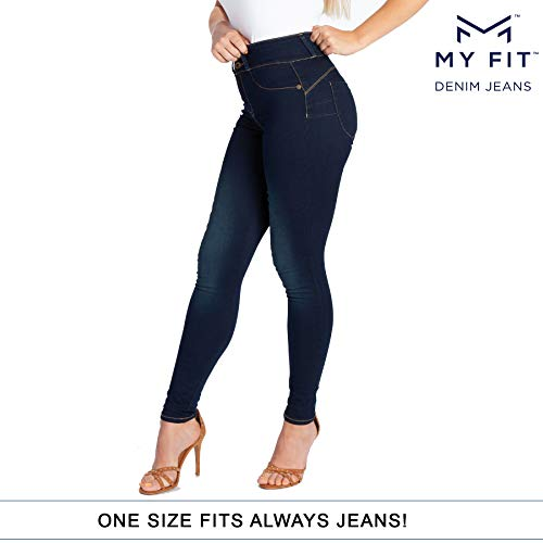 (My Fit Jeans- SIZE 2-12 DARK WASH: Women's Stretch Denim Jeans with Pockets and the Comfort of Leggings, Petite through Plus Size)