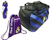 Real Madrid Official C.F Soccer Duffle Bag, with a Cinch Bag Water Bottle,
