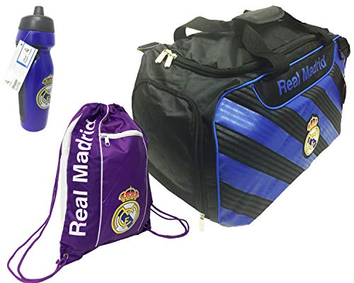 Real Madrid Official C.F Soccer Duffle Bag, with a Cinch Bag Water Bottle, by Real Madrid