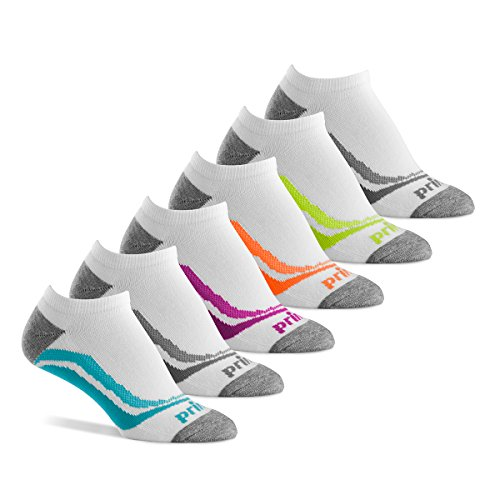 Prince Womens No Show Performance Socks for Running, Tennis, and Casual Use (Pack of 6) - White
