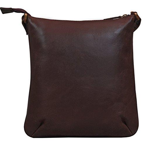 mano borsa 10 Borsa pollici marrone a cioccolata a STILORD 1 'Lina' tracolla pelle vera da pelle borsa Colore marrone donna per cioccolata piccola da borsa sera tablet CPwHqO8P