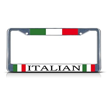 Fastasticdeals Italy Italian Italiano Chrome Heavy Duty Metal License Plate Frame