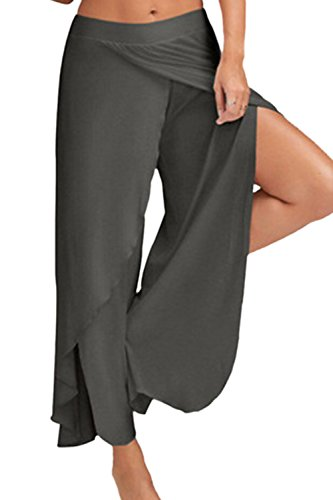Yoga Leggings Large Split De Leg Pour Palazzo Pantalon Darkgrey Femme xSqHw45I
