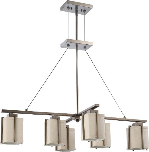 Nuvo Lighting 60/4491 Six Light Logan Island Pendant with Khaki Fabric Shade, Hazel Bronze - Energy Star Island Pendant