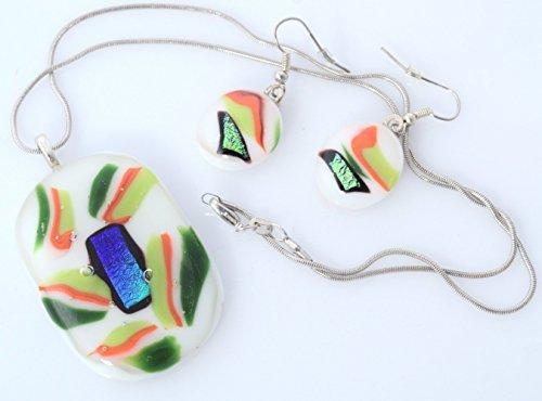 Handmade Millet Glass Designs Fused Glass Pendant Necklace Earrings Set Unique Artistic (Handmade Fused Glass Pendant)