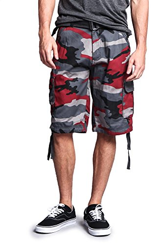 G-Style USA Men's Camo Ripstop Belted Cargo Shorts 9AP30 - Red - 40 - - Red Urban Camo
