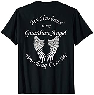 Cool Gift Husband Guardian Angel  For Loss Of Husband Funny Women Tee Shirt / Navy / S - 5XL
