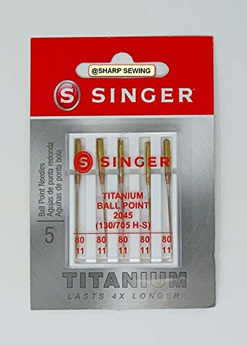 Style 2045 Genuine Singer Ball Point Needle Flat Shank Yellow Band Size 80//11 5-pack