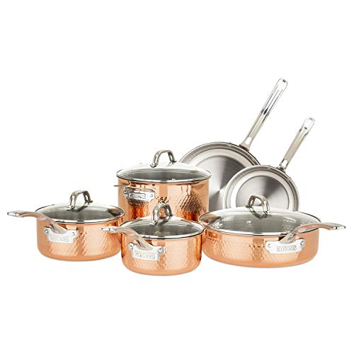 Viking Culinary 40581-9990C 3-Ply Stainless Steel Hammered Copper Clad Cookware Set 10 Piece