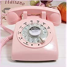 ECVISION 1960's Style Pink Retro Old Fashioned Rotary Dial Telephone