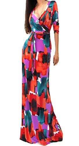 Les Femmes Coolred Paysan Bal Du Parti Du Cou V Profond En Forme Originale Rouge Robe Longue