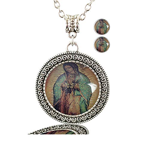 (PTCRMG Photo Custom Women Necklace Handmade Alloy Pendants Necklace with 2pcs Earing Stud Jewelry Set (Our-Lady-of-Guadalupe Mosaic) )