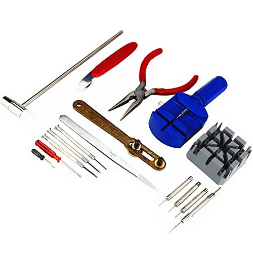 Watch Jewelry Repair Tool Kit, TFSeven Professional 16Pcs Repair Tool Set with Back Opener Band Pin Strap Link Remover with Hammer Screwdrivers Wrench Cutter Spring Bar for Men Women Kids Wristwatch - Mens Driver Watch