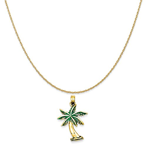Mireval 14k Yellow Gold Enameled Palm Tree Pendant on a 14K Yellow Gold Rope Chain Necklace, 16