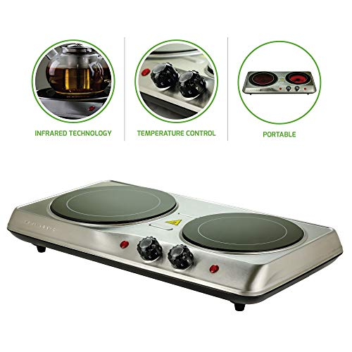 Ovente Countertop Burner, Infrared Ceramic Glass Double Plate Cooktop, Indoor and Outdoor Portable Stove, 1700 Watts (BGI102) (Certified Refurbished)