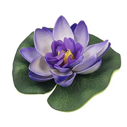Amazon.com: eDealMax Jardin espuma Aquascaping Lotus ornamento decorativo, púrpura/Verde: Pet Supplies