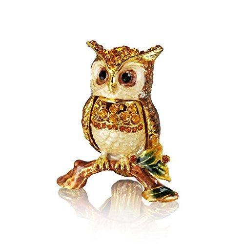 Welforth Pewter Owl on Branch Trinket Box Model No. J-543