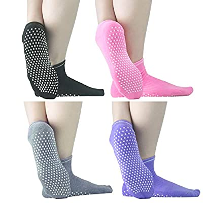 Sticky Grips Socks For Men Women - ELUTONG 4 Pack Thickening Tile/Wood Floors Non Skid Slip Barre Socks For The Senior Citizens Winter Warm Piyo Ballet Socks: Clothing