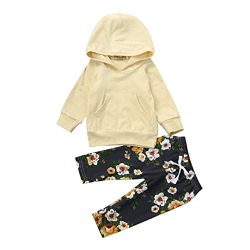 Baby Hoodie MITIY Autumn Winter Newborn Infant Baby Boy Girl Solid Floral Pullover Hoodie Topswith Pocket+Pants (Beige, 3M)