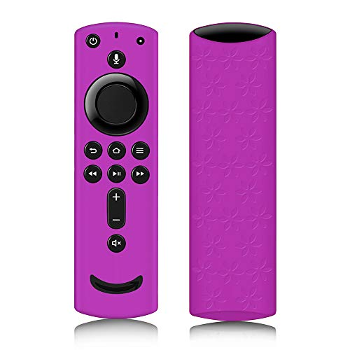 Remote Cover for Fire TV Stick 4K, Silicone Remote case for Fire TV Cube/Fire TV(3rd Gen) Compatible with All-New 2nd Gen Alexa Voice Remote Control, Lightweight Anti-Slip Shockproof (Purple)